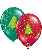 "11"" Christmas Trees & Stars Balloons"