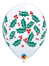 "11"" Holly & Berries Christmas Balloons"