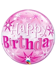 "22"" Birthday Pink Starburst Sparkle Bubble Balloon"