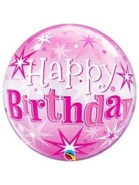 "22"" Birthday Pink Starburst Sparkle Bubble Balloon"