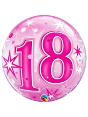 "22"" 18 Pink Starburst Sparkle Bubble Balloon"