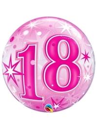 "22"" 18 Pink Starburst Sparkle Bubble Balloon"