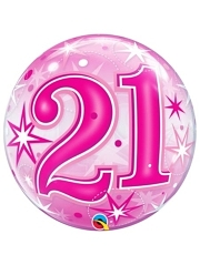 "22"" 21 Pink Starburst Sparkle Bubble Balloon"