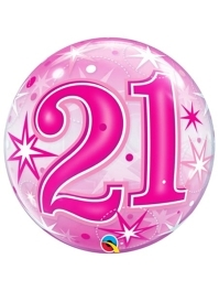 "22"" 21 Pink Starburst Sparkle Bubble Balloon"