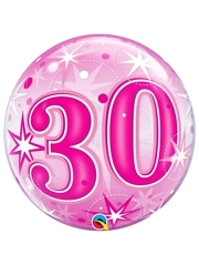 "22"" 30 Pink Starburst Sparkle Bubble Balloon"
