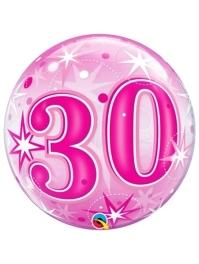 "22"" 30 Pink Starburst Sparkle Bubble Balloon"