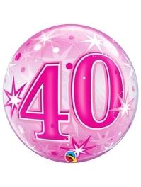 "22"" 40 Pink Starburst Sparkle Bubble Balloon"