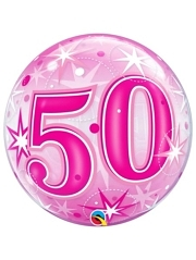 "22"" 50 Pink Starburst Sparkle Bubble Balloon"