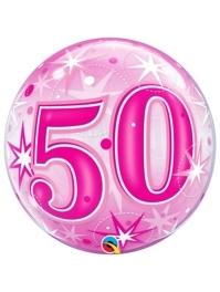 "22"" 50 Pink Starburst Sparkle Bubble Balloon"