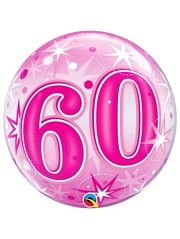 "22"" 60 Pink Starburst-Sparkle Bubble Balloon"