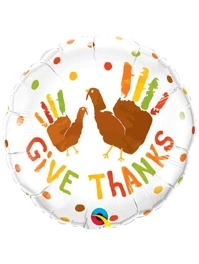 "18"" Give Thanks Turkey Hands Thanksgiving Balloon"