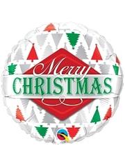 "18"" Merry Christmas Tree Patterns Balloon"