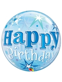 "22"" Birthday Blue Starburst Sparkle Bubble Balloon"