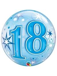 "22"" 18 Blue Starburst Sparkle Bubble Balloon"
