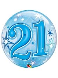 "22"" 21 Blue Starburst Sparkle Bubble Balloon"