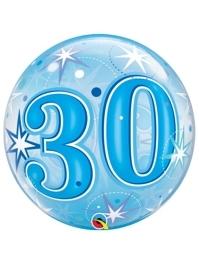 "22"" Blue Starburst Sparkle Bubble Balloon"