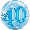 "22"" 40 Blue Starburst Sparkle Bubble Balloon"