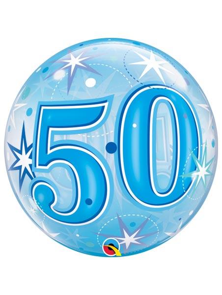 "22"" 50 Blue Starburst Sparkle Bubble Balloon"
