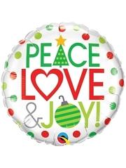 "18"" Peace, Love & Joy Christmas Balloon"