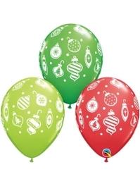 """11"""" Christmas Ornaments & Dots Balloons"""