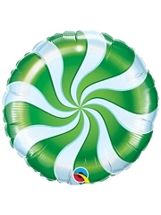 "18"" Candy Swirl Green Christmas Holiday Balloon"
