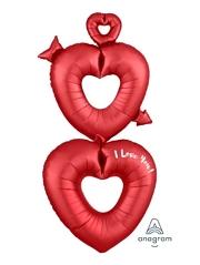 "63"" Satin Open Hearts I Love You Balloon"