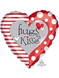 """18"""" Red & White Hugs & Kisses Balloon"""
