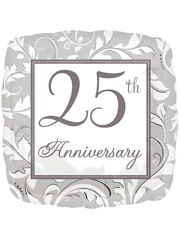 "18"" Silver Elegant Scroll 25th Anniversary Balloon"