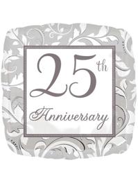 "18"" Silver Elegant Scroll 25th Anniversary Balloon"