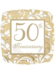 "18"" Gold Elegant Scroll 50th Anniversary Balloon"