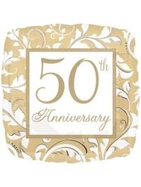 "18"" Gold Elegant Scroll 50th Anniversary Balloon"