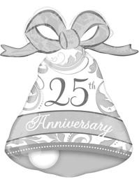 "27"" Silver Elegant 25th Anniversary Bell Balloon"