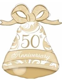 "27"" Gold Elegant 50th Anniversary Bell Balloon"