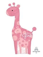 """42"""" Safari Baby Girl Giraffe Balloon"""