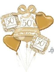Gold Scroll 50th Anniversary Balloon Assortment