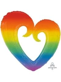 """32"""" Rainbow Ope Heart Balloon"""
