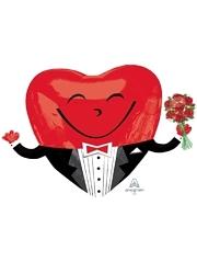 "28"" Smiley Heart Guy Balloon"