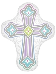"28"" 1st Communion Cross Religious Balloon"