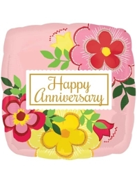 "17"" Flowery Anniversary Balloon"