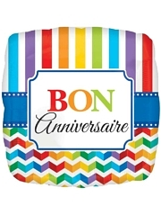 "17"" Bon Anniversary Stripe & Chevron Balloon"