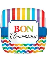 "17"" Bon Anniversary Stripe & Chevron Balloon"