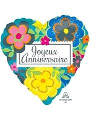 "17"" Bright Floral Joyeux Anniversaire Balloon"