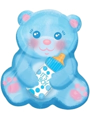 "16"" Baby Boy Bear With Bottle Balloon"