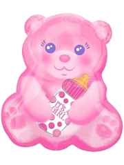 "16"" Baby Girl Bear With Bottle Balloon"