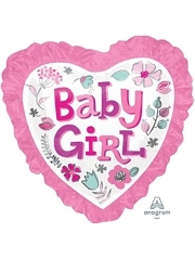 "28"" Baby Girl Heart Floral With Ruffle Balloon"