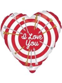 """17"""" I Love You Bullseye Balloon"""