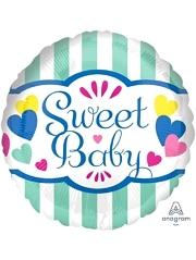 "17"" Sweet Baby Stripes & Hearts Baby Balloon"
