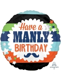 "18"" Manly Birthday Mustache Balloon"