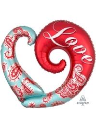 """32"""" Paisley Love Balloon Shape"""