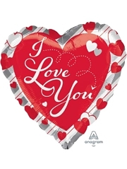 """17"""" I Love You Red Hearts & Stripes Balloon"""